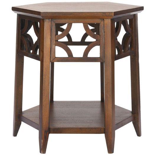 Connor Hexagon End Table, Brown