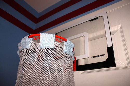 Diy basketball hamper for a sports themed room sports pinterest homemade the o 39 jays and - Basketball hoop laundry hamper ...