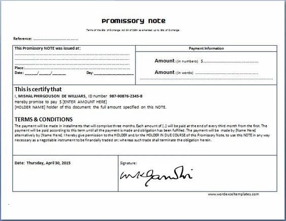 General Promissory Note Template | Collection Of Everyday Word