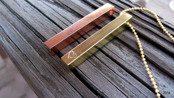 stamped rectangle bar necklace.  four sides can be stamped