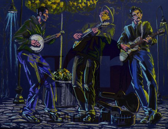 """Playin' in the Park at Dark, May 2012. 2 guitarist and a banjo player strumming in the park on dark violet paper. Framed in rustic black with ivory mat, 25 x 19"""" (63 x 48 cm). In the Elliott Collection, Bend, OR."""
