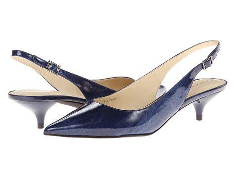 Tahari Faye Blue - gorgeous navy patent slingback kitten heels. 1