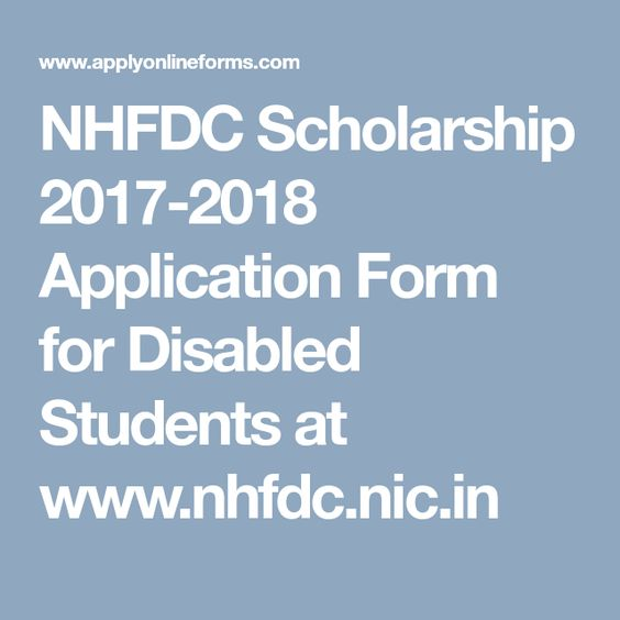NHFDC Scholarship 2017-2018 Application Form for Disabled Students - scholarship form