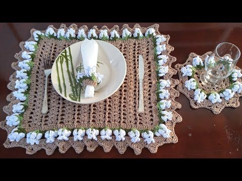 Sousplast De Croche Quadrado Com Flores Ponto Bolinha Youtube Jogo Americano De Croche Tapete De Croche Quadrado Quadrados De Croche