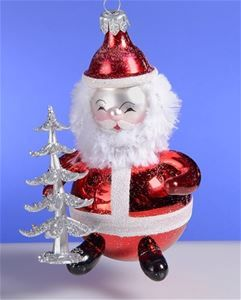 De Carlini Santa with Silver Trees Christmas Ornament The Cottage ...