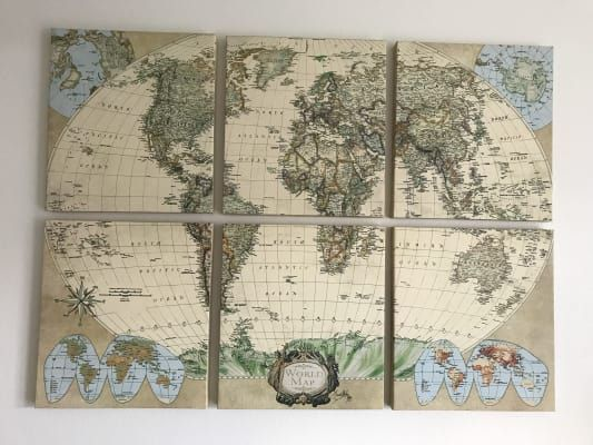 Six Piece World Map Set Set Of 6 World Market Map Wall Art World Map Canvas Canvas Wall Art