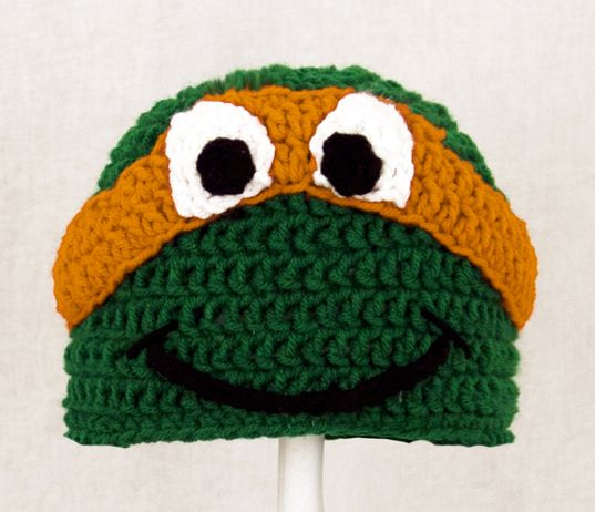Knitting Pattern Turtle Hat : Free Ninja Turtle Hat Pattern ... Hats :: Michelangelo Hat from Teenage Mut...
