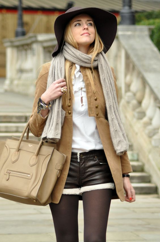 CHRISTIAN LOUBOUTIN SUEDE SHOES  FAUX FUR AND LEATHER SHORTS thanks toMOTEDRONNINGEN  TOMMY HILFIGER SHIRT  ZARA CAMEL JACKET  H BROWN HAT