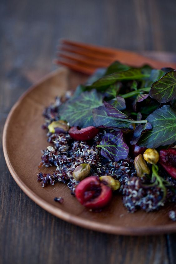 Black Quinoa Salad with Cherries, Pistachios and Cress