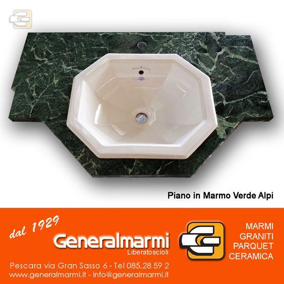 Realizzazione di un piano per bagno in marmo VerdeAlpi (Casa Privata ...