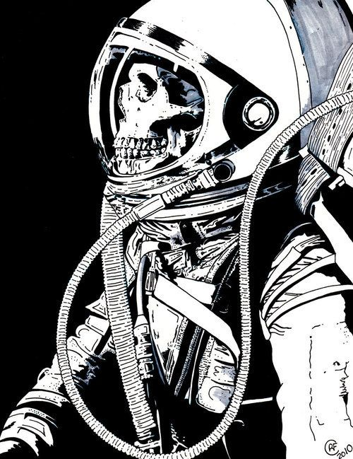 here's a cool illustration of a skeleton in a space suit. Makes me think of how dangerous space is and the thin lines and solid shapes used to shade the suit only seem to reinforce that thought in my head.