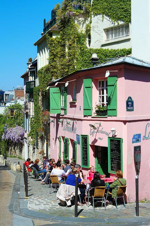 Montmartre, Paris, France.La maison rose is located close to the famous Lapin Agile in Montmartre. claradeparis.com ♥