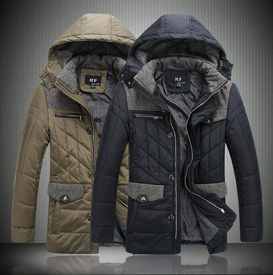Mens Extra Warm Patchwork Shoulder Winter Blazer Hooded Jacket Thick Covercoat Black Khaki