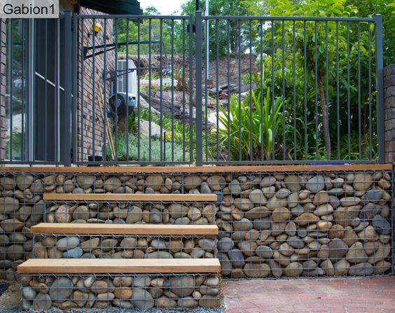 gabion steps with timber treads http://www.gabion1.com