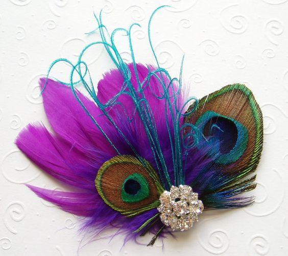 Purple Aqua Feather Hair Clip PEACOCK FEATHER HAIR Clip, Bridal Fascinator fasinator bridesmaid accessory rhinestone