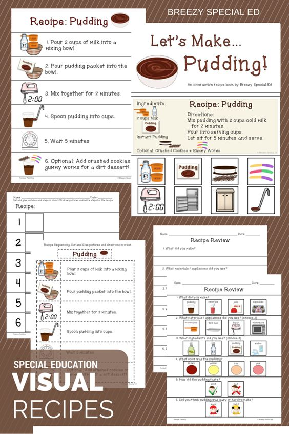 Worksheets Special Ed Worksheets interactive cooking lessons visual recipes for pudding and jello with worksheets books a must all special education classes