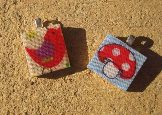 365 Reasons not to die with a full craft cupboard: Day 70 - Scrabble tile and fabric pendants. Giveaway.