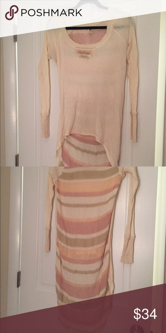 We The Free Waffle Knit W/ Pink Stripe Back Size S We The Free Off White Waffle Knit W/ Pink Stripe Back Size S  Some pulls on back Shirt in great shape High-low  Front- 100% cotton Back- 40% rayon 33% cotton 20% acrylic 4% nylon 2% wool 1% alpaca We the Free Tops Blouses