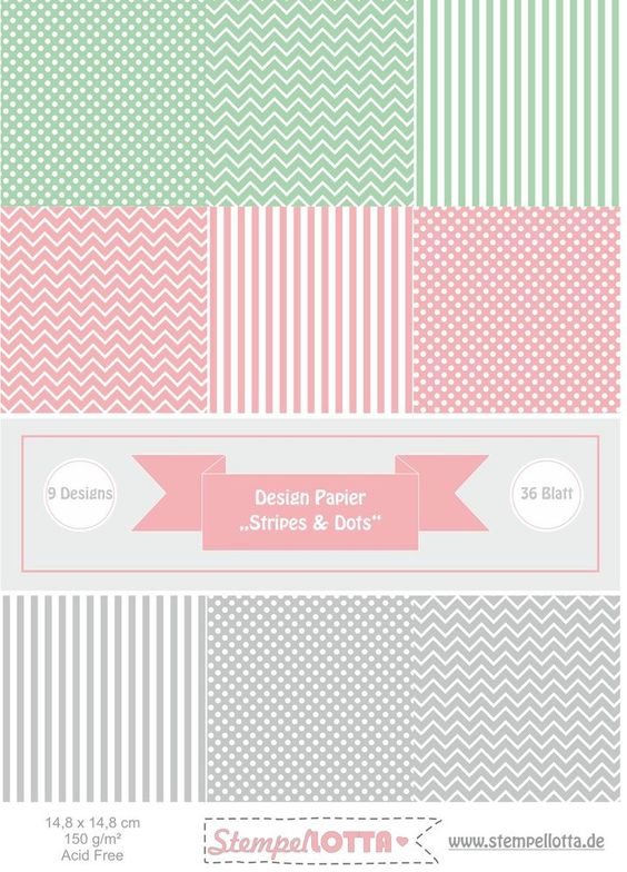 Motivpapier 36 Blatt Papier Hochzeit Punkte rosa grau mint vintage Scrapbooking