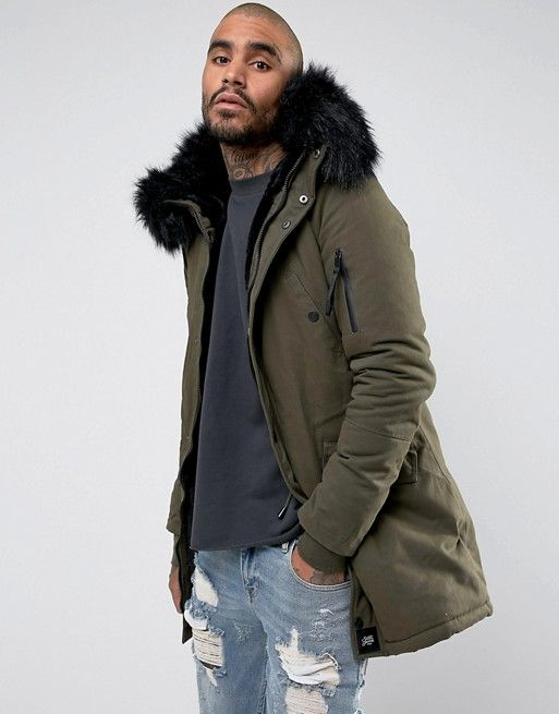 fashion lowest discount detailed look Sixth June Parka Jacket In Khaki With Faux Fur Hood in 2019 ...