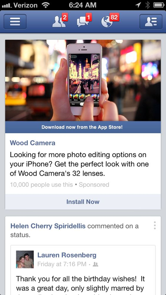 Slim bar under image, in FB blue, with a download from App Store call to action.