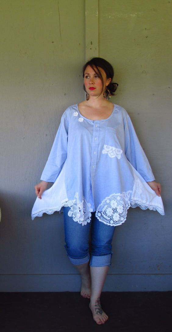 Romantic Bohemian tunic upcycled clothing Lagenlook top up cycled French Shabby lace shirt summer cowgirl wedding jacket X large-1X-2X: