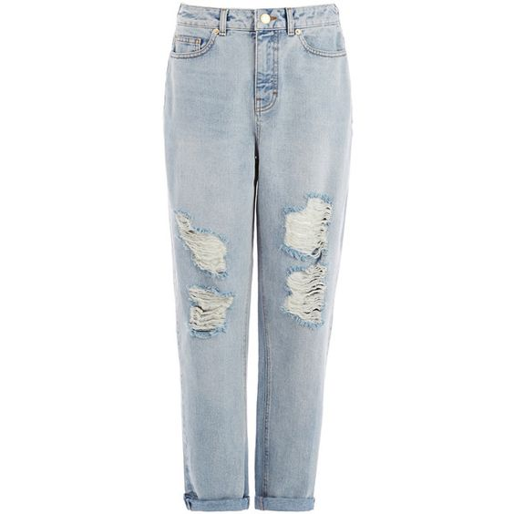 Warehouse Ripped Mom Jean (39 CHF) ❤ liked on Polyvore featuring ...