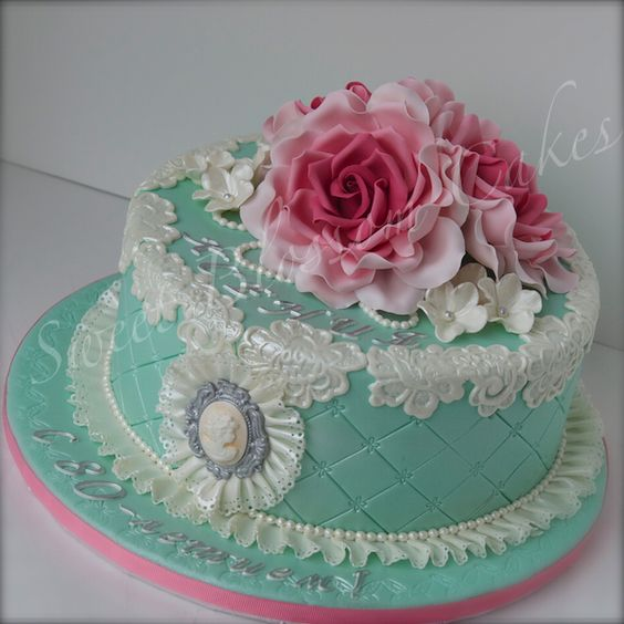 Birthday Cake With Gumpaste Flowers Image Inspiration of Cake