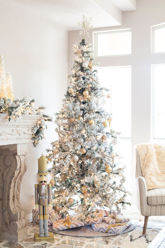 Heavy Flocked Layered Spruce Pre-lit Christmas Tree by Sterling Tree