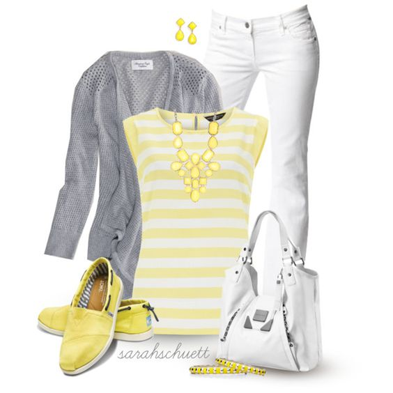 Hello Yellow - Yellow, Gray and White, created by sarahschuett on Polyvore