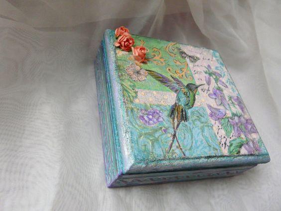 Hummingbird Box Small Keepsake Box Small Wooden by TwoCatsAndAnOwl