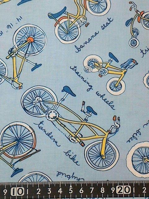 Usaコットン タンデム自転車柄 タンデム自転車 タンデム 自転車