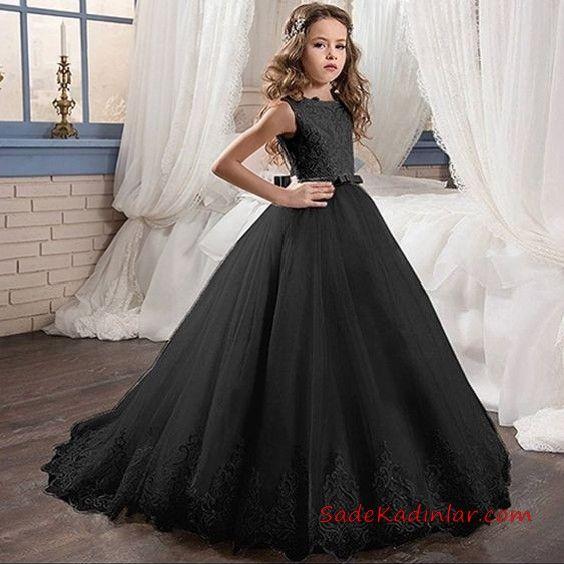 2019 Cocuk Abiye Modelleri Siyah Uzun Kolsuz Kabarik Etek Sade The Dress Balo Elbisesi Kadin Elbiseleri