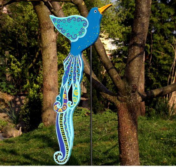 "Paradiesvogel Blau-u. Grüntöne ""Hukulani"" von KIMAMA-design Andrea Abraham auf DaWanda.com"