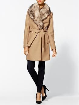 MICHAEL Michael Kors Wrap Coat With Faux Fur Collar | Piperlime