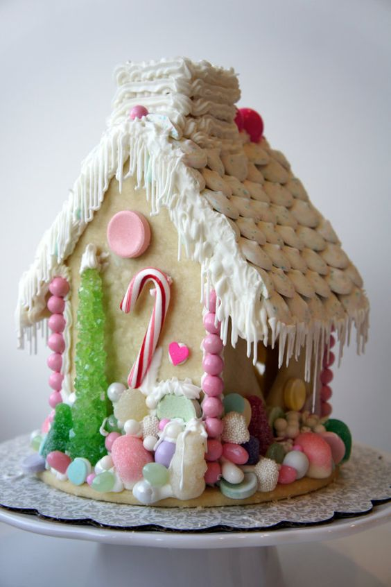Dreamy and romantic Gingerbread house with pink and rock candy decorations