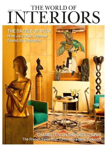 Stunning cover of The World of Interiors January 2014 issue. On the cover featured private home of art deco collector and dealer Félix Marcilhac, featuring an original guilded plaster of Girl with Dove by Ossip Zadkine, a painting by Marcelle Ackein...