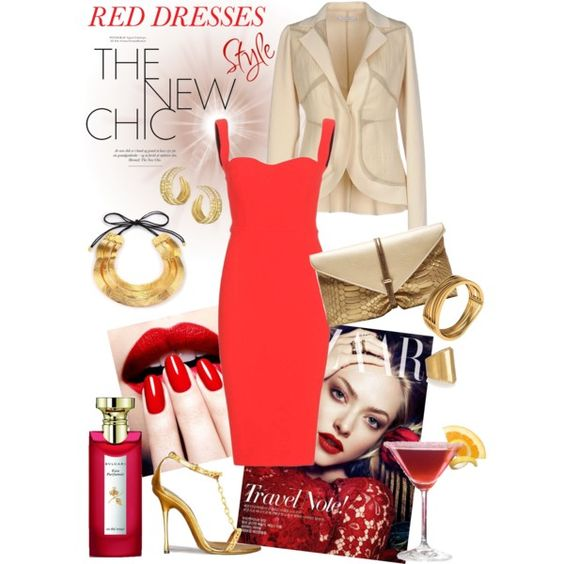 DOH Style 'Hot Red Dress' by dohinstyle on Polyvore featuring Victoria Beckham, Gentryportofino, VBH, Michael Aram, Ileana Makri, Josie Natori, Bulgari, Tom Ford, women's clothing and women's fashion