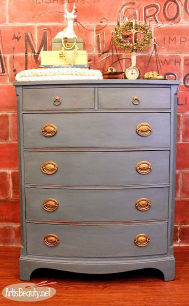 Art is Beauty of Jenison, MI refinished this Duncan Phyfe dresser with GF Charleton Blue Chalk Style Paint and High Performance Topcoat.