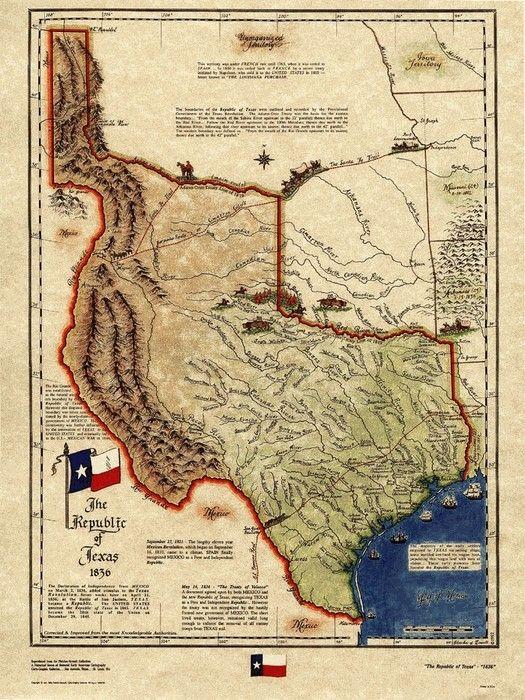Texas Historical Map Republic Of Texas 1836 Texas Map