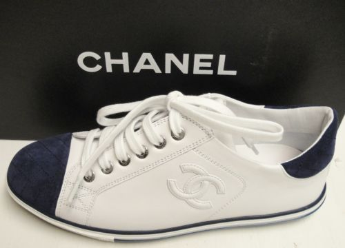 5abcb7e93a1 CHANEL 13P CC Logo Leather Lace Up Sneakers Flats Tennis Shoes 38