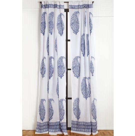 Malabar Large Paisley Curtain Deep Blue Printed Curtains