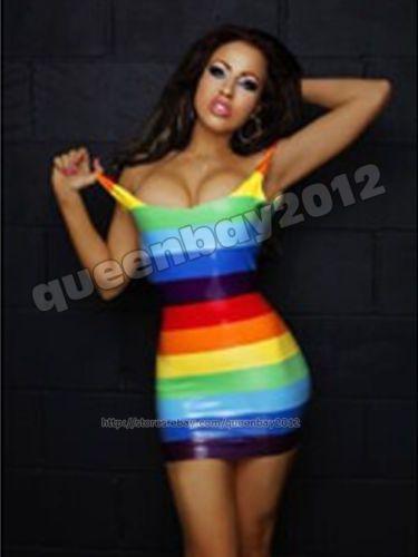 100-Latex-Rubber-Gummi-Mutilfarbe-Kleid-Dress-Mini-Skirt-Rock-Catsuit-Ganzanzug
