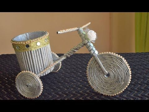 Newspaper Cycle Pen Stand Waste Material Craft Paper Craft