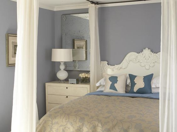 Romantic accessories should evoke femininity and softness. Luxurious fabrics and a pastel color palette take center stage in romantic design. Add in a little sparkle and pretty flowers to complete the look. Design by SPI Design.: Wall Color, Bedroom Design, Master Bedroom