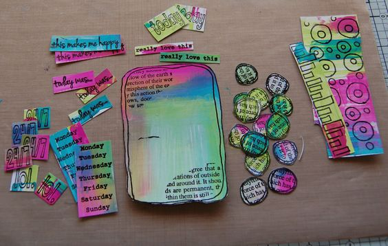 stamp images onto painted cardstock and then cut out for project life embellishments