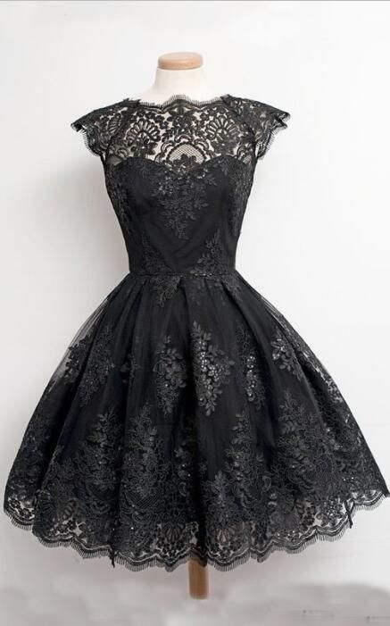 Short Dresses For Prom Black Vintage Lace Appliques Sheer Real Photos 2016 Party Gowns Jewel Princess Tulle Puffy Grad Dress