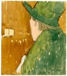 Rear View of Woman in Green Hat and Coat Gouache on paper, 4 15/16 x 4 3/8 inches Stamped (at lower right): Gwen John [estate stamp] Probably executed during the late 1920s.  Davis & Langdale Company, Inc. - Gwen John