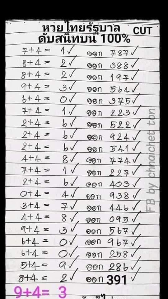 แนวทางหวยรัฐบาล 16/9/63