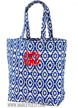 Monogrammed Royal Blue Aztec Tote